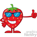 Royalty Free RF Clipart Illustration Smiling Strawberry Fruit Cartoon Mascot Character Training With Dumbbells Vector Illustration Isolated On White Background_1