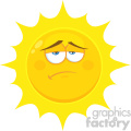 Royalty Free RF Clipart Illustration Sadness Yellow Sun Cartoon Emoji Face Character With Expression Vector Illustration Isolated On White Background