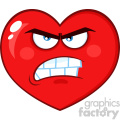 Angry Red Heart Cartoon Emoji Face Character With Grumpy Expression Vector Illustration Isolated On White Background