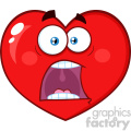Scared Red Heart Cartoon Emoji Face Character With Panic Expression Vector Illustration Isolated On White Background