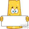 Smiling Cheese Cartoon Mascot Character Holding A Banner Vector Illustration Isolated On White Background