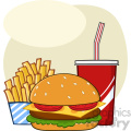 Fast Food Hamburger Drink And French Fries Cartoon Drawing Simple Design Vector Illustration Isolated On White Background 1