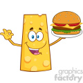 Cheese Cartoon Mascot Character Presenting A Perfect Burger Vector Illustration Isolated On White Background