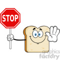 Smiling Bread Slice Cartoon Mascot Character Gesturing And Holding A Stop Sign Vector Illustration Isolated On White Background