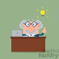 Professor Or Scientist Cartoon Character Behind Desk With A Big Idea Vector Illustration Flat Design With Background
