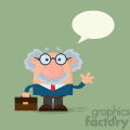 Professor Or Scientist Cartoon Character Waving With Speech Bubble Vector Illustration Flat Design With Background