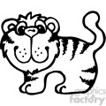 cartoon clipart Noahs animals tiger 001 bw