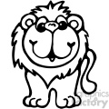 cartoon clipart Noahs animals lion 005 bw