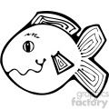 cartoon vector fish 008 bw