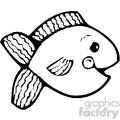 cartoon vector fish 005 bw