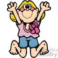 cartoon girl jumping vector art