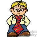 small cartoon wearing large tie