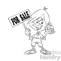 black and white cartoon guy holding a house for sale