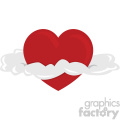heart with clouds for valentines no background