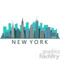 new york city skyline flat vector design with label