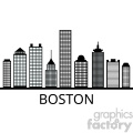 boston city skyline outline vector
