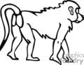 baboon baboons monkey monkeys   anml131_bw clip art animals  gif