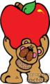 Cute cartoon bear holding a huge apple