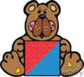 Colorful cute cartoon bear holding box