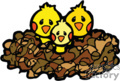 three yellow baby birds in a nest gif, eps