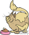 Huge tabby cat sniffing a bowl of food