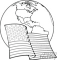 a black and white american flag with the earth behind it gif