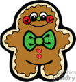 happy gingerbread man with a green bow tie gif, eps
