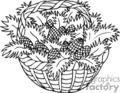 Black and White Basket Full of Pinecones
