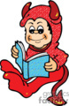 Small boy reading a book while wearing a devil costume