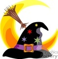 witch hat with stars on it and a broomstick and crescent moon