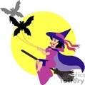 Witch being pulled on her broom by bats vector clip art image