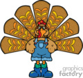 Turkey wearing overalls vector clip art image
