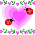 Multiple Pink Heats with Two Lady Bugs Decorated with two Heart Vines