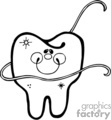 Black and white tooth with dental floss