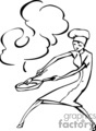 Cook holding a burning frying pan