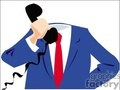 Headless man wearing a suit holding a telephone
