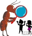 giant ant looking at small humans through a magnifying glass