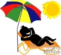 Man under a umbrella get tanning