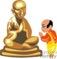 Man praying to buddha.