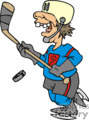 cartoon Hockey player character