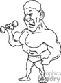black and white cartoon body builder